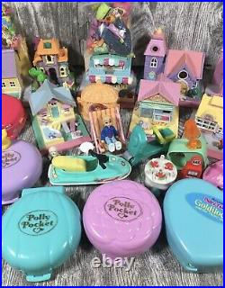 Lot Of 50+ Vintage Bluebird Polly Pocket Figures Compacts Houses Dolls 1990s