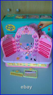 VINTAGE POLLY POCKET PYJAMA PARTY DRESSING TABLE 1990 figures accessories BOX